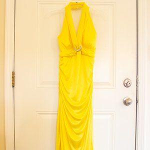 Bright Yellow Floor-Length Prom Dress